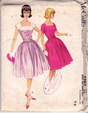 McCall's 5282 Womens Square Neckline Dress with Full Skirt 50s Vintage Sewing Pattern Size 16 Bust 36 inches UNCUT Factory Folded