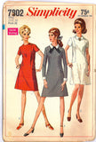 Simplicity 7802 Womens Dress with Detachable Collar and Cuffs 1960s Vintage Sewing Pattern Size 16 Bust 36 inches