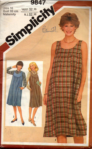 57aae47820a Simplicity 9847 Womens Maternity Dress Jumper   Blouse 80s Vintage Sew