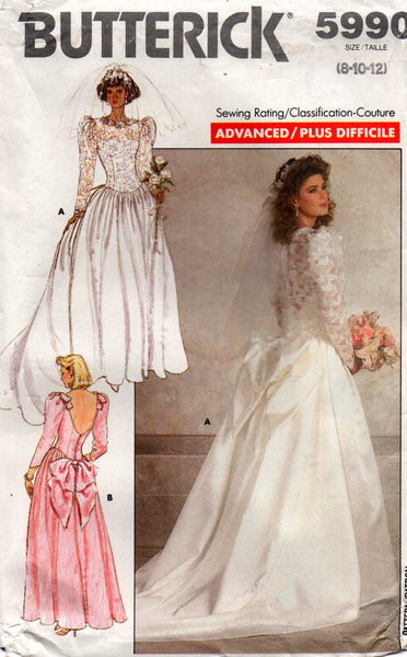 butterick 5990 80s wedding dress