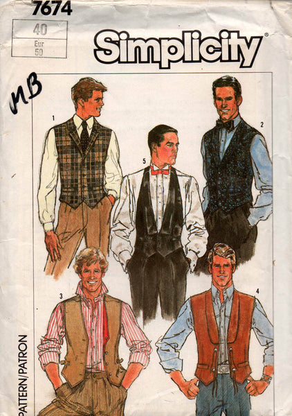 simplicity 7674 mens vests 80s