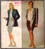 Style 1295 Womens ALFRED SUNG Lined Jacket Wrap Blouse & Pencil Skirt 1980s Vintage Sewing Pattern Size 12 UNCUT Factory Folded