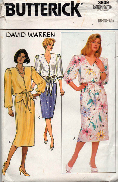 butterick 3809 david warren 80s dress