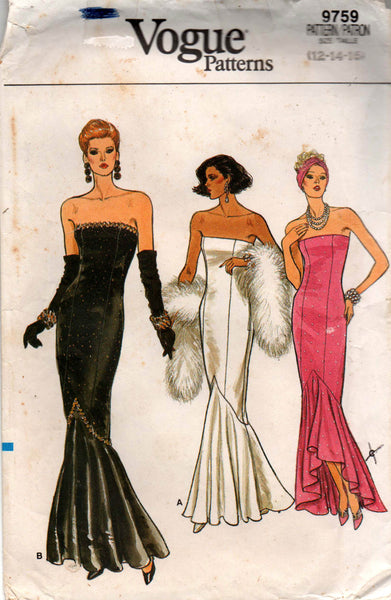 16101c30fb4 Vogue 9759 Womens Boned Bodice Strapless Fishtail Hem Evening Cocktail Prom  Gown 1980s Vintage Sewing Pattern Size 12 14 16 Bust 34 36 38 UNCUT Factory  ...