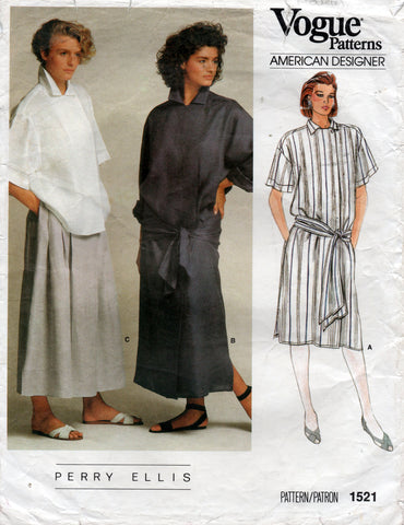 Vogue 1521 perry ellis dress top skirt 80s