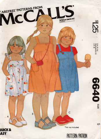 McCall's 6640 toddlers dress 70s