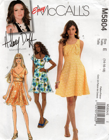 McCall's 5804 Hilary duff dress oop