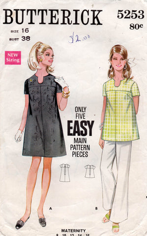 butterick 5253 maternity top and dress