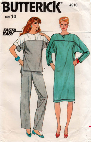 Butterick 4910 Womens FAST & EASY Pullover Dress Top & Pants 1980s Vintage Sewing Pattern Size 10 UNCUT Factory Folds
