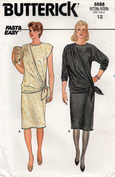 Butterick 6688 Womens EASY Pullover Straight Dress with Side Drape 1980s Vintage Sewing Pattern Size 12 UNCUT Factory Folds