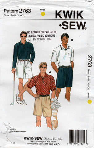 Kwik Sew 2763 Mens Pleated Shorts & Stretch Golf Shirts 1990s Vintage Sewing Pattern Size S - XXL UNCUT Factory Folded