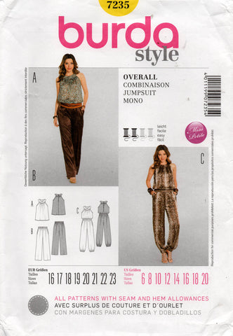 burda 7235 jumpsuit top pants oop