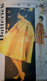 Butterick 2457 Womens Side Pleated Princess Dress & Swing Coat 1960s Vintage Sewing Pattern Size 14 Bust 34 Inches UNUSED Factory Folded