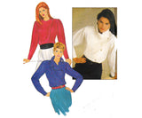 Butterick 4748 Womens Asymmetric Buttoned Blouse 80s Vintage Sewing Pattern Size 12 Bust 34 inches UNCUT Factory Folded