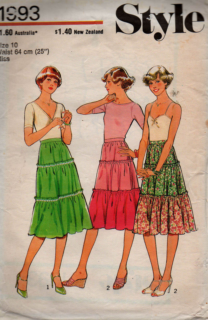 Style 1993 Womens Tiered Peasant Skirt 70s Vintage Sewing Pattern ...
