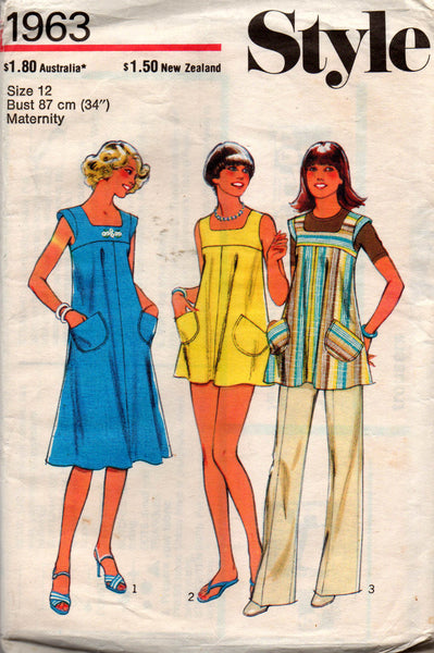 Style 1963 Womens Maternity Dress Top Pants Mini Dress 70s Vintage Sewing Pattern Size 12 or 14 Bust 34 36 inches UNCUT Factory Folded