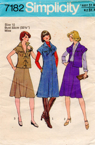 simplicity 7182 70s dress top skirt scarf