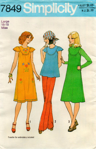 simplicity 7849 70s smock dress or top