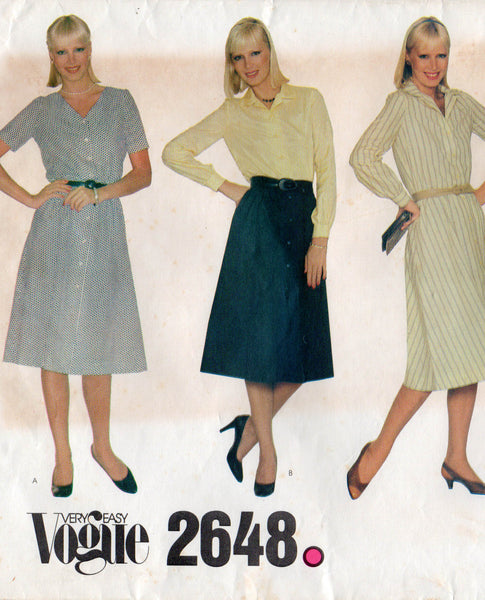 vogue 2648 easy shirtdress 80s