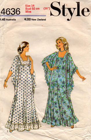 Style 4636 Womens Hippie Caftan Dress with Angel Sleeves 1970s Vintage Sewing Pattern Size 14 Bust 36 inches