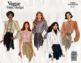 Vogue Basic Design 1042 Womens Blouses Short or Long Sleeves Optional Necktie 90s Vintage Sewing Pattern Size 6 8 10 UNCUT Factory Folded