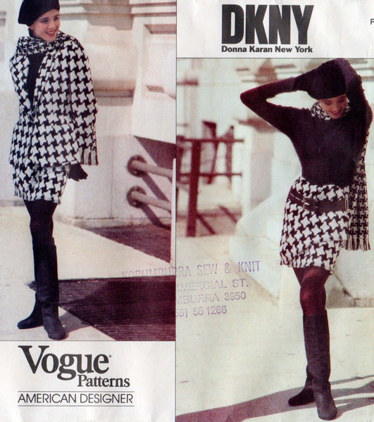 vogue 2781 dkny jacket wrap skirt and scarf 90s