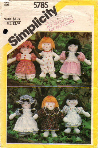 simplicity 5785 80s mini dolls and wardrobe