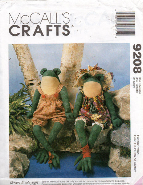 McCall's 9208 Stuffed Toy Frogs with Clothes 90s OOP Sewing Pattern UNCUT  Factory Folds