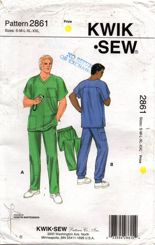 kwik sew 2861 mens scrubs pattern