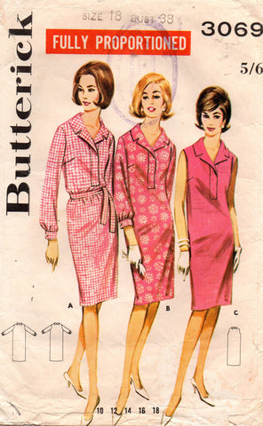 butterick 3069 60s shift dress