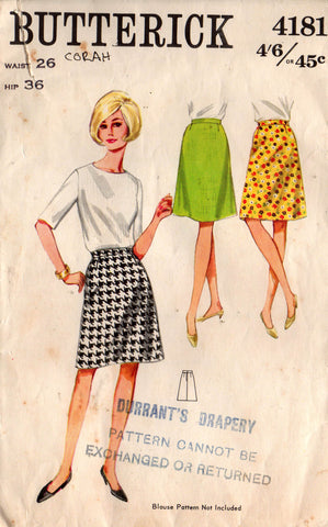 butterick 4181 a line skirt 60s