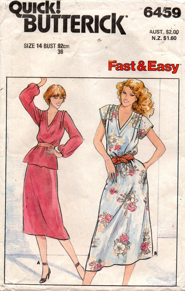 butterick 6459 80s dress top and skirt