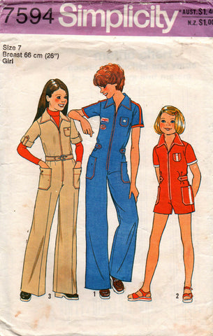 simplicity 7594 girls 70s jumpsuit