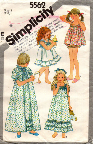simplicity 5562 80s girls sleepwear
