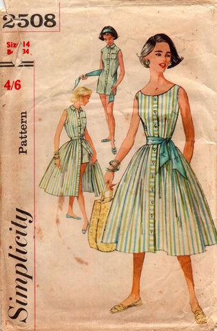 5e88e55f79c Simplicity 2508 Womens Playsuit Blouse Skirt   Sash 50s Vintage Sewing  Pattern Size 14 Bust 34 inches