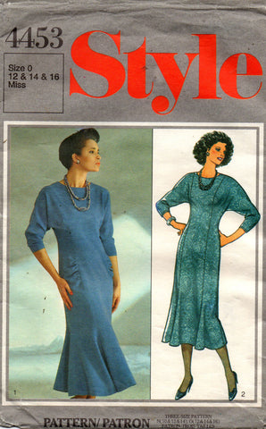 Style 4453 Womens Fluted Skirt Dress 80s Vintage Sewing Pattern 12 14 16