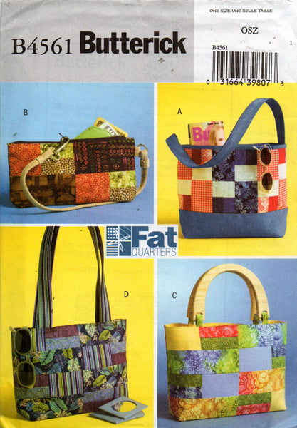 butterick 4561 fat quarter bags oop
