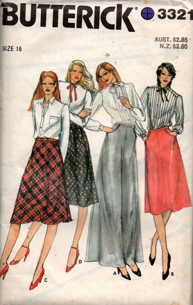 butterick 3321 80s skirts