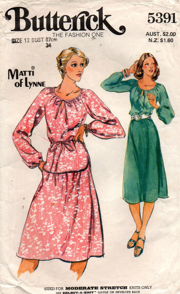 butterick 5391 70s stretch dress top and skirt