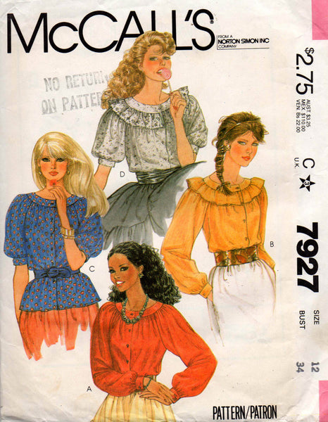 fc7fe2c2737 McCall's 7927 Womens Round Yoked Raglan Sleeved Peasant Blouse 80s Vintage  Sewing Pattern Size 12 UNCUT Factory Folded