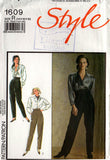 Style 1609 Womens Tapered Pants 80s Vintage Sewing Pattern Size 14 16 18