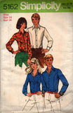 Simplicity 5162 Womens Body Fitting Shirts 1970s Vintage Sewing Pattern Size 12 or 14 Bust 34 or 36 inches
