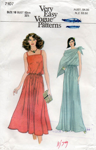 Very Easy Vogue 7107 Womens Easy Pullover Sundress Maxi & Scarf 70s Vintage Sewing Pattern Size 10 UNCUT Factory Folded