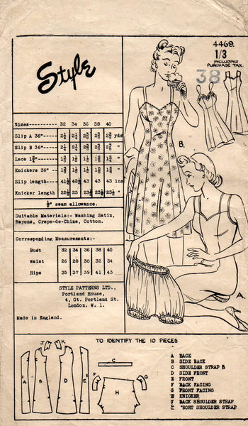 Style 4469 Womens PLUS SIZE  War Era Full Slip & Panties 1940s Vintage Sewing Pattern Bust 38 inches UNUSED Factory Folds