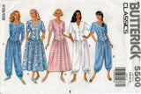 Butterick 5500 Womens Drop Waisted Dress & Jumpsuit 1990s Vintage Sewing Pattern Size 6 - 12 UNCUT Factory Folds