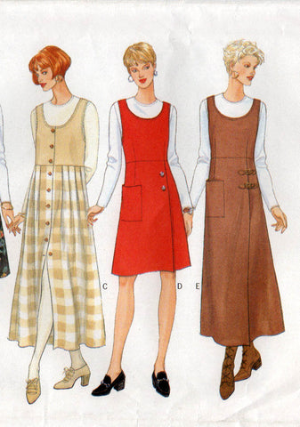 butterick 4675 90s jumper dress and top