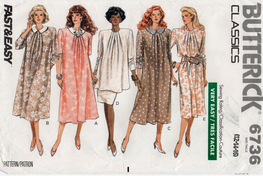 9d5ee5ef76f Butterick 6736 Womens EASY Maternity Dress Top   Skirt 80s Vintage Sewing  Pattern Size 12 14 16 UNCUT Factory Folds