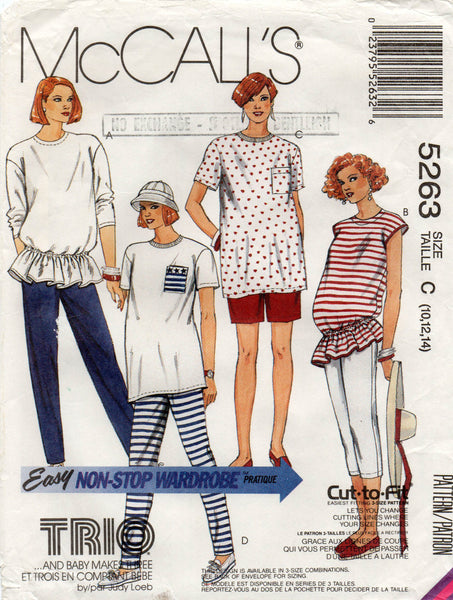 287130ddc63c0 McCall's 5263 Womens Stretch Maternity Tops Pants & Shorts 90s Vintage