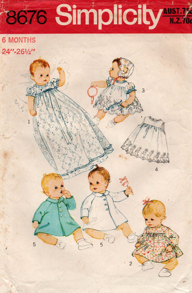 simplicity 8676 70s baby layette