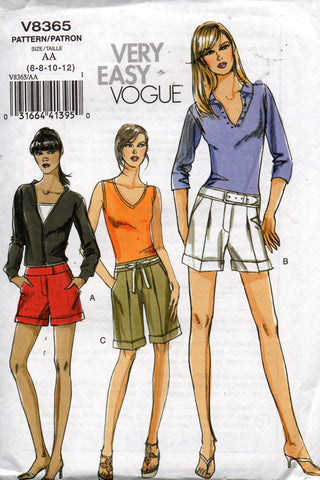 Vogue 8365 Womens Tailored Shorts OOP Sewing Pattern Size 6 8 10 12 UNCUT Factory Folds